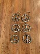 Pottery Barn Christmas Gold Beaded Peace Sign Ornament Set Of 6 New