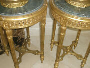 Amazing Pair Of Antique Carved Giltwood Side Tables Pedestals Marble Top