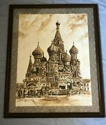 Handmade Painting With Coffee Landscape For St. Basiland039s Cathedral In Moscow