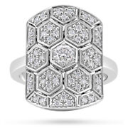 Amazing Honeycomb Patterns In 925 Sterling Silver With 1.00ct Genuine Cz Ring