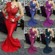 Long Sleeves Prom Dresses Women Formal Party Appliques Lace Beading Mermaid Gown