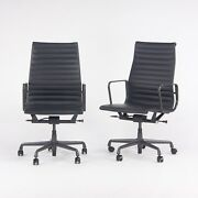 2018 Herman Miller Eames Aluminum Group Executive Desk Chair In Black Leather 7x