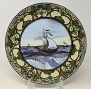 Antique 1910 Hand Painted Nippon Porcelain Moriage Boat Ship Plaque Plate Md21