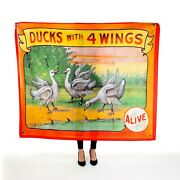 Antique Freak Show Sideshow Banner Replica Tapestry 50x60 4 Winged Ducks Circus