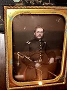 Early Civil War Soldier Armed And Idand039d Tinted 1/4 Daguerreotype By Anson New York