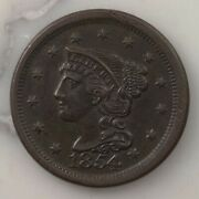 Raw 1854 Braided Hair 1c Uncertified Ungraded Us Minted Copper Large Cent Coin