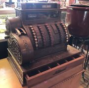 Atique National Cash Register 92 Dept Store Type Brass C1905 Works Beauty As-is