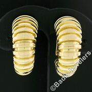 Fred 14k Yellow Gold Graduated Grooved Polished Hoop Huggie Clip On Earrings