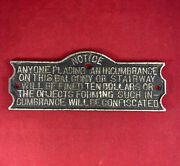 Antique Cast Iron Plaque Balcony Or Stairway Fined 10 Dollars