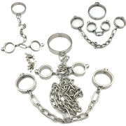 Binding Stainless Steel Handcuffs Ankle Cuffs Collar Restraint Couples Chain Set
