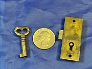 Antique Keyhole Dead Bolt Lock For Cabinet Or Bookcase W/barrel Key And Strike Plt
