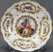 Meissen Hand Painted Dresden Courting Couple Floral And Gold Scrolls Plate 1814-60