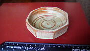 Buckfast Abbey Arts And Crafts, Pale Green And Red Glaze Trinket Dish. 3.5tall.