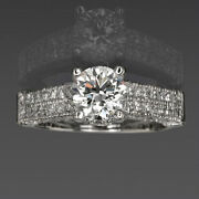 Round Diamond Ring 2 Carat Accented Si1 4 Prongs 14 Kt White Gold Real Ladies