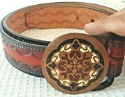 Turner Tech Ether Guild 1978 Arabesque Solid Brass Hand Tooled 40 Leather Belt