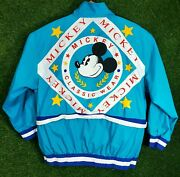 Vtg Mickey Mouse Jacket All Over Print Graphic Classic Wear Full Zip Xl 90s