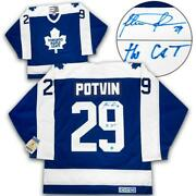Felix Potvin Toronto Maple Leafs Signed And Noted The Cat Vintage Ccm Jersey