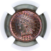 1864 Ms64 Rb Ngc Indian Head Penny Premium Quality Superb Eye-appeal
