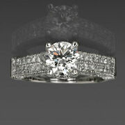 Diamond Ring Round Anniversary 2.15 Carat Accented 14 Kt White Gold 4 Prongs