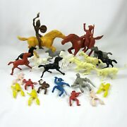 Vintage 25 Cowboys And Indians Figures Horses Riders Plastic 1950s Toys Mpc Marx