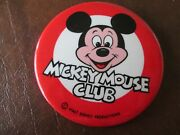 Vintage Disney Mickey Mouse Club Member 1960s 3.5 Pin Back, Button