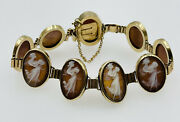 Antique Victorian 14k Yellow Gold Shell Cameo Lady Panel Bracelet