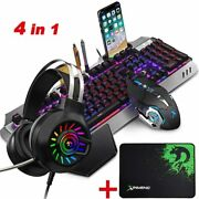 4 In1 Wireless Gaming Keyboard And Mouse And Headset Set Rgb Rainbow Backlit Usb