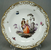 Meissen Hand Painted Courting Couple Flowers Insects And Gold Plate C. 1814-1860