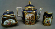 Dresden Hand Painted Courting Couples Water Fort Cobalt And Gold Miniature Tea Set