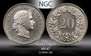 1974 Switzerland 20 Rappen Ngc Ms 67 Only 1 Graded Higher