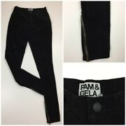 Pam And Gela Womens Sz Small Black Zippered Ankle Corduroy Slim Fit Skinny Jeans
