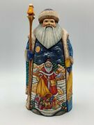 9 Wooden Russian Carved Santa Father Frost, Ded Moroz Hand Carved Painted