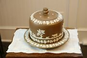 Dudson Pottery Brown Jasper Ware Cheese Dome W/plate 19th C.