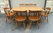 Temple Stuart Rockport Solid Hard Rock Maple Dining Drop Leaf Table And 6 Chairs