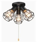 Industrial 3 Globe Close To Ceiling Pull Chain Light Fixture Farmhouse Modern