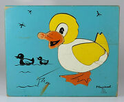 Vintage Playskool Wood Frame Tray Puzzle Duck 7 Pieces