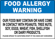 Food Allergy Warning   Adhesive Vinyl Sign Decal
