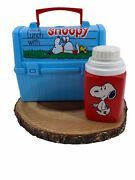 1968 Vintage Snoopy Blue Plastic Dome Rectangle Lunch Box With 1958 Thermos