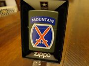 United States Army Us 10th Mountain Division Zippo Lighter Mint In Box