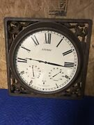 """Rare Atomic By Atomix Radio Controlled Metal Bronze Framed Wall Clock 26"""" See"""