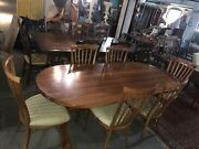 Mid Century Modern Dining Table And 6 Chairs Beautiful Cherry W/trestle Legs Mcm