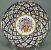 Thieme Dresden Pink Rose Floral Basket Purple Bow Cobalt And Raised Gold Plate G