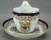 Porcelaine De Paris Chinese Export Style Cobalt Armorial And Floral Cup And Saucer