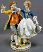 Muller Volkstedt Hp Colonial Courting Couple Figurine Group Circa 1895 - 1927