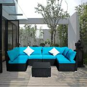 7 Pieces Pe Rattan Wicker Sectional Sofa Sets Outdoor Patio With Blue Pillows