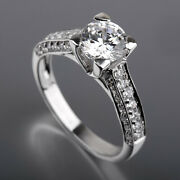 Real 1.75 Carat Round Shaped Accented Diamond 18k White Gold Anniversary Ring Si