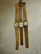 Vintage Gold Plated Montine Swiss Ladies Watches X3 17 Jewel Incabloc Working