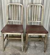 General Fireproof Good Form Aluminum Chairs Emeco Mcm Vintage Antique Navy Seat