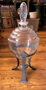 """Antique Apothecary Jar Glass Stand 23""""tall Display Candy Gumball Pharmacy"""