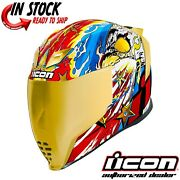 2021 Icon Freedom Spitter Gold Motorcycle Street Helmet - Pick Size
